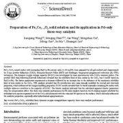 تهیه محلول جامد FexCe1−xOy و کاربرد آن در کاتالیزگرهای سه راهی Pd