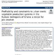 سودآوری و محدودیت های سیستم تولید سبزیجات شهری در  کلان شهرکوماسی غنا