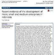 شواهد اخیر در خصوص توسعه ی  بنگاه ها و شرکت های خرد، کوچک و متوسط در اندونزی