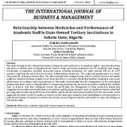 رابطه انگیزه و عملکرد کارکنان دانشگاهی در مؤسسات عالی دولتی در ایالت سوکوتو، نیجریه