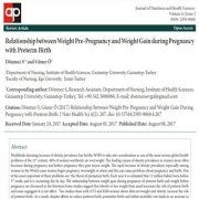 رابطه بین وزن قبل از بارداری و افزایش وزن هنگام بارداری با زایمان زودرس