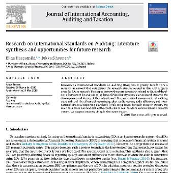تحقیق در مورد استانداردهای بین المللی حسابرسی: مرور منابع و فرصت ها برای تحقیقات آینده