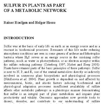 گوگرد در گیاهان به عنوان بخشی از یک شبکه متابولیک