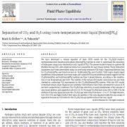 تفکیک دی اکسید کربن و هیدروژن سولفید با استفاده از مایع یونی