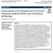 سرمایه اجتماعی و قصد کارآفرینی: شواهد تجربی از جامعه روستایی پاکستان