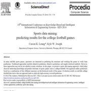 داده کاوی ورزش ها: پیش بینی نتایج برای بازی های فوتبال دانشگاهی