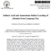 فروشویی (آبشویی) اسید سولفوریک و سولفات آمونیوم از رس لامپانگ