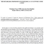 خواص  چشمگیر دانش به عنوان یک کالای اقتصادی: یادداشت