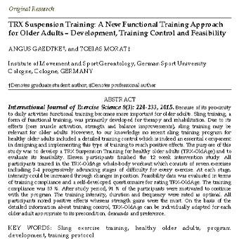 تمرین آویزی TRX: یک رویکرد تمرینی  کارکردی جدید برای  بزرگ سالان مسن