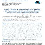 مشارکت معلمان در تضمین کیفیت در مدارس متوسطه خصوصی و دولتی
