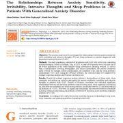 روابط بین حساسیت اضطراب، کج خلقی، افکار مزاحم و مشکلات خواب
