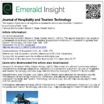 اثر نظرات الکترونیکی مثبت و منفی بر روی قصد خرید اتاق هتل مسافران شاغل