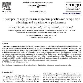 بررسی اثرات شیوه های مدیریت زنجیره تامین بر مزیت رقابتی و عملکرد سازمانی