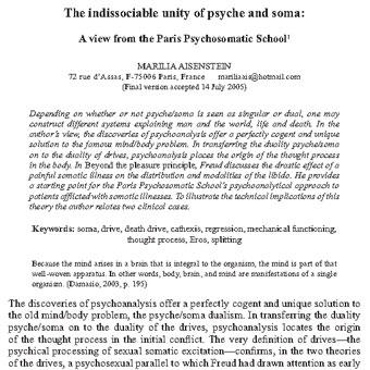 یکپارچگی لاینفک روح و جسم: نظریه و چشم انداز مکتب سایکوسوماتیک پاریس