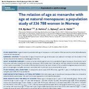 رابطهی بین سن قاعدگی و سن یائسگی: مطالعهی جمعیت ۳۳۶۷۸۸ زن در نروژ