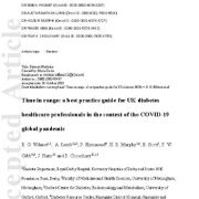 تنظیم قند خون در مقدار معمول: بهترین دستور العمل برای متخصصان دیابت در همه گیری جهانی کوید-۱۹