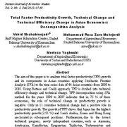 رشد بهره وری کل عوامل ، تغییر فنی و تغییر راندمان فنی در اقتصاد آسیا:   تحلیل تجزیه
