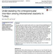 درک قصد کارآفرینی(کارافرینانه) در میان دانشجویان بین المللی در ترکیه