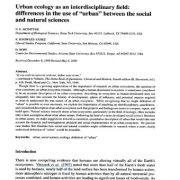 بوم شناسی شهری به صورت چند رشته ای