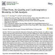 "<span itemprop=""name"">فرم شهری، کیفیت هوا و مرگ و میر ناشی از بیماری های قلبی تنفسی: تحلیل مسیر</span>"