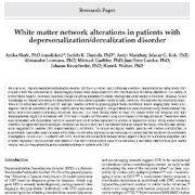 تغییرات شبکه ماده سفید در بیماران مبتلا به اختلال زول شخصیت / واقعیت زدایی