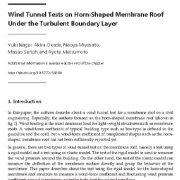 آزمایشات تونل بادی روی سقف غشایی بوقی شکل تحت لایهی مرزی آشفته