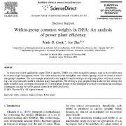 وزن های متداول درون دسته ای در DEA:  تجزیه تحلیل راندمان نیروگاه برق