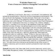آزادی در محل کار : از آرمان  دموکراتیک تا یک  روش مدیریتی و حمایتی