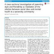 بررسی مقطی سبک تربیت و دوستی عنوان واسطههای رابطه کلاس اجتماعی