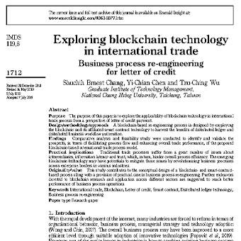 بررسی فناوری بلاک چین در تجارت بین المللی.مهندسی مجدد  فرایند کسب و کار برای اعتبارنامه